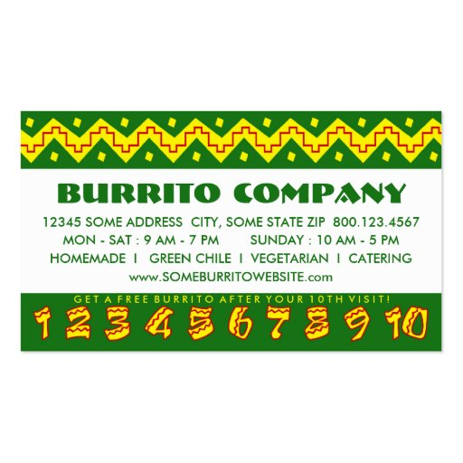 arriba buritto (loyalty punch card) business cards