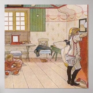 Arriba dormitorio del ático con la hermana del beb póster