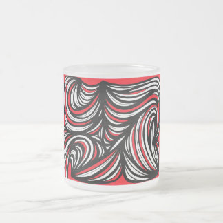 Arribas Abstract Expression Red White Black 10 Oz Frosted Glass Coffee Mug