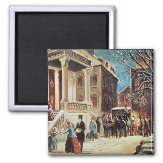 Arrival at the Christmas Party 2 Inch Square Magnet