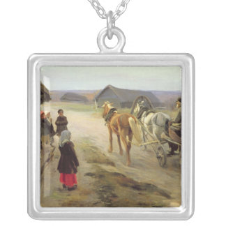 Arrival of a School-Mistress in the Country Silver Plated Necklace