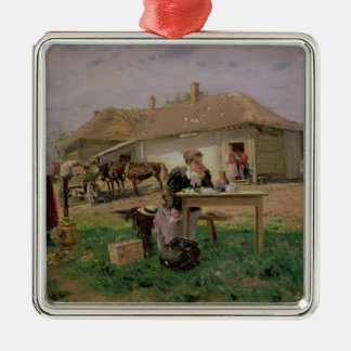 Arrival of a School Mistress in the Square Metal Christmas Ornament