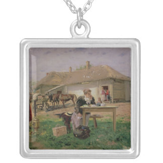 Arrival of a School Mistress in the Silver Plated Necklace