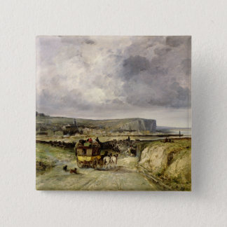 Arrival of a Stagecoach at Treport, 1878 Button