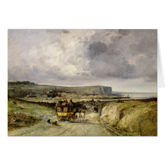 Arrival of a Stagecoach at Treport, 1878 Card