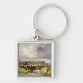 Arrival of a Stagecoach at Treport, 1878 Keychain