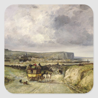 Arrival of a Stagecoach at Treport, 1878 Square Sticker