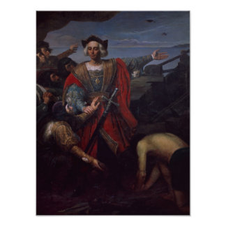 Arrival of Cristobal Colon in America Poster