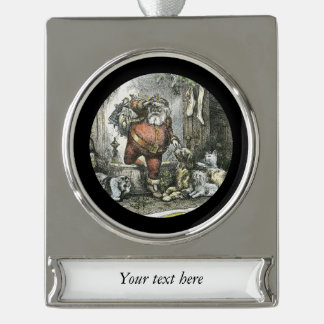 Arrival of Saint Nicholas Silver Plated Banner Ornament