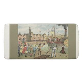 Arrival of Sinterklaas Dutch St. Nick Vintage Eraser