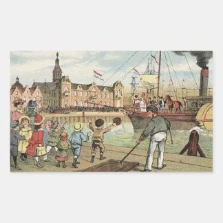Arrival of Sinterklaas Dutch St. Nick Vintage Rectangular Sticker