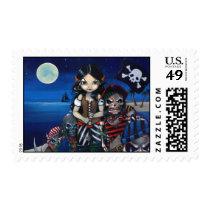 art, fantasy, pirate, pirates, undead pirates, undead, skeleton, skeletons, skull, skulls, zombie, zombies, monster, horror, ocean, moon, pirate girl, pirate flag, jolly roger, flag, sea, night, dark, full moon, star, stars, ship, pirate ship, eye, eyes, big eye, big eyed, jasmine, becket-griffith, becket, griffith, jasmine becket-griffith, jasmin, strangeling, Selo postal com design gráfico personalizado