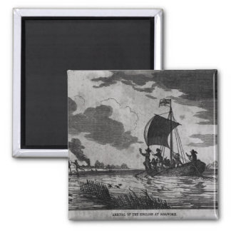 Arrival of the English at Roanoke 2 Inch Square Magnet