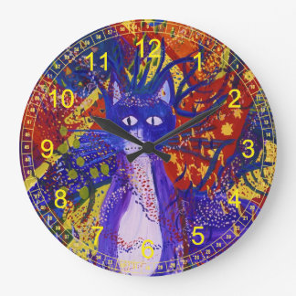 Arriving - Abstract Party in Red, Yellow Blue Large Clock