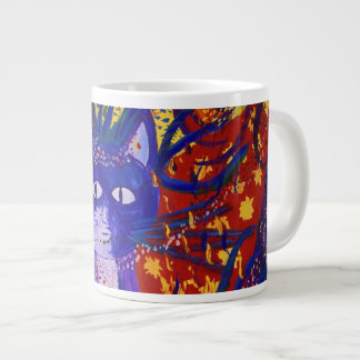 Arriving - Fun Party in Red, Yellow & Blue Giant Coffee Mug