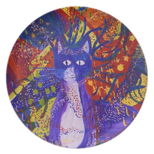 Arriving - Fun Party in Red, Yellow & Blue - Kitty Dinner Plate
