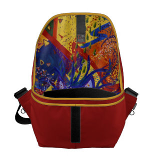 Arriving - Fun Party in Red, Yellow & Blue Messenger Bag
