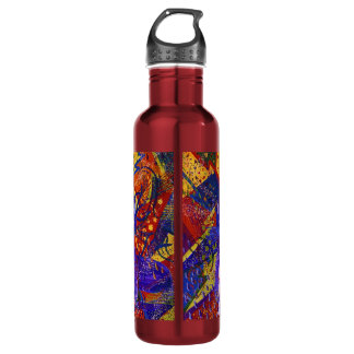 Arriving - Fun Party in Red, Yellow & Blue 24oz Water Bottle