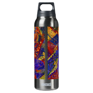 Arriving - Fun Party in Red, Yellow & Blue 16 Oz Insulated SIGG Thermos Water Bottle