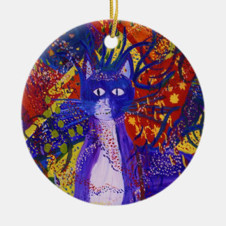 Arriving - Wild Party in Red, Yellow & Blue 2 side Ceramic Ornament