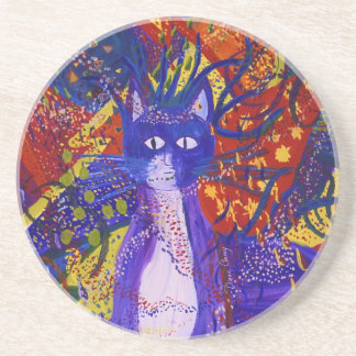 Arriving - Wild Party in Red, Yellow & Blue Coaster