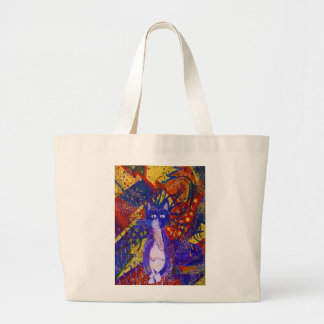 Arriving - Wild Party in Red, Yellow & Blue Large Tote Bag