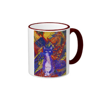Arriving - Wild Party in Red, Yellow & Blue Coffee Mug