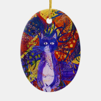 Arriving - Wild Party in Red, Yellow & Blue Christmas Tree Ornaments