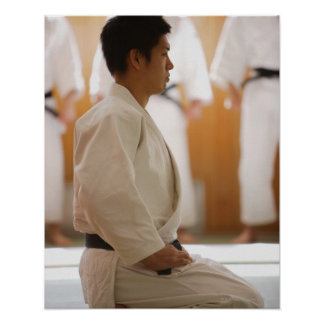 Arrodillamiento principal del judo en una estera impresiones