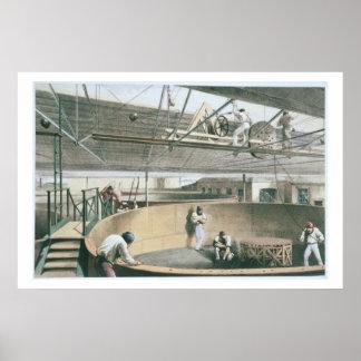 Arrollando el telégrafo telegrafíe en los tanques  póster