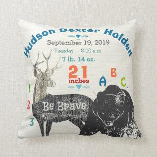 Arrow Boy Forest Nursery Baby Birth Stat Bear Deer Throw Pillow at Zazzle