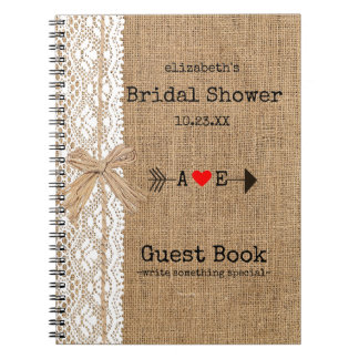 Arrow Burlap Lace Image Bridal Shower Guest Book | Spiral Notebook