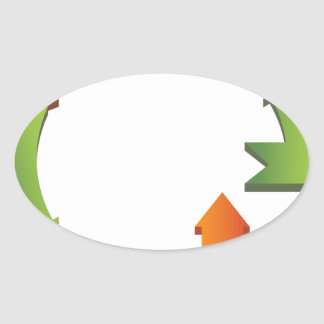 Arrow Business Process Cycle Chart Oval Sticker