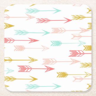 Arrow Coral Pink Mint Yellow / Andrea Lauren Square Paper Coaster