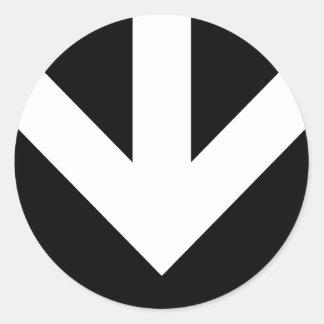 arrow down. color customizable. classic round sticker