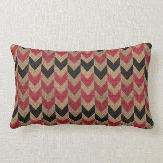 Arrow Down Pattern | Tan, Dark Red and Black Lumbar Pillow