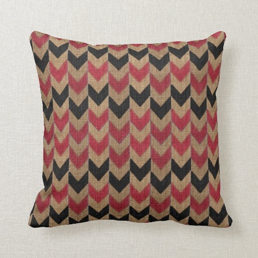 Arrow Down Pattern Tan, Dark Red and Black Throw Pillow Zazzle