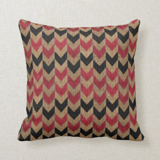 Arrow Down Pattern | Tan, Dark Red and Black Throw Pillow