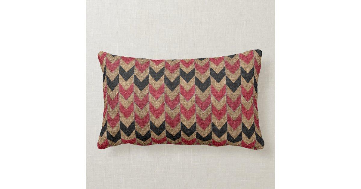 Black Down Throw Pillows : Arrow Down Pattern Tan, Dark Red and Black Throw Pillow Zazzle
