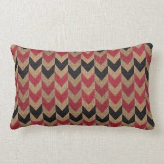 Arrow Down Pattern   Tan, Dark Red and Black Throw Pillow