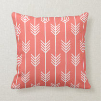 Arrow Fletching Pattern Live Coral Throw Pillow