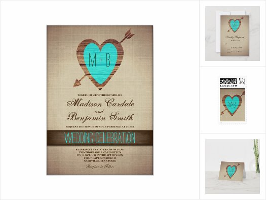 Arrow Heart Rustic Wedding Invitation Set