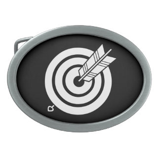 Arrow hit a round target oval belt buckle