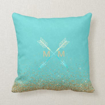 McTiffany Tiffany Aqua Arrow Modern Tribal Monogram Gold & Blue Boho Throw Pillow
