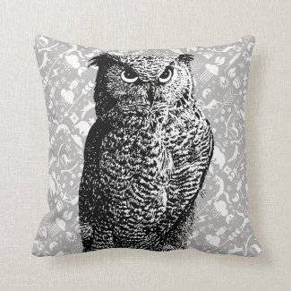 Arrow Pattern New Baby Boy's Room Gray Owl Pillow