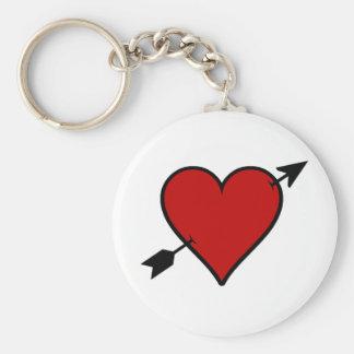 Arrow Pierced Heart Basic Round Button Keychain