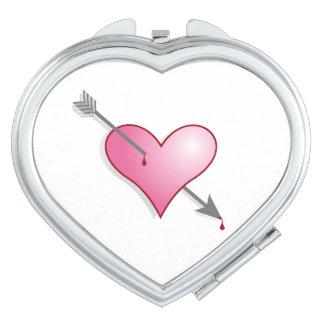 Arrow Pink Heart Compact Mirror