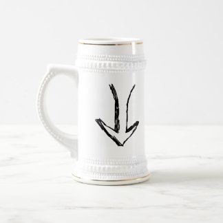 Arrow Pointing Down. Black and White. Coffee Mugs
