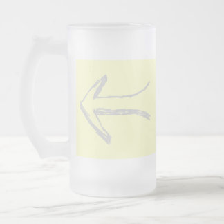 Arrow Pointing Left. Gray and Cream. Frosted Glass Beer Mug