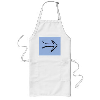 Arrow Pointing Right, Black and Blue. Long Apron